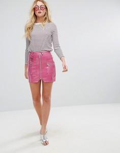 Виниловая мини-юбка с молнией и D-образными кольцами ASOS Premium - Розовый