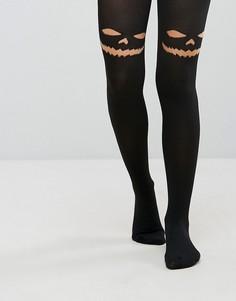 Непрозрачные колготки с принтом черного кота Leg Avenue Halloween - Черный
