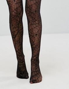 Колготки с узором паутина Leg Avenue Halloween - Черный