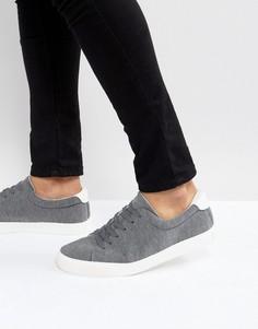 Серые трикотажные кроссовки на шнуровке ASOS - Серый