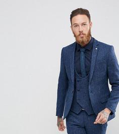 Супероблегающий пиджак из харрис-твида с узором гусиная лапка Noose & Monkey - Синий