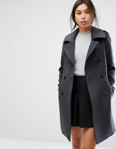 Пальто в стиле милитари с контрастной окантовкой Gianni Feraud - Серый