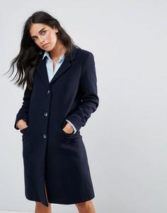 Пальто из ткани с добавлением шерсти Helene Berman - Темно-синий