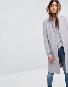 Пальто из твида с добавлением шерсти Helene Berman - Серый