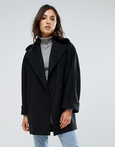 Пальто на основе шерсти с воротником из искусственного меха Helene Berman - Черный