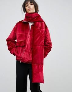 Бархатная дутая куртка со съемным шарфом House Of Sunny - Красный