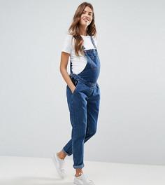 Синий выбеленный джинсовый комбинезон ASOS MATERNITY - Синий