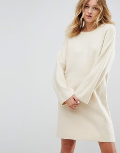 Вязаное оверсайз-платье мини ASOS - Бежевый