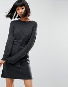 Трикотажное платье мини с поясом ASOS - Серый