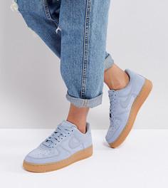 Синие замшевые кроссовки на резиновой подошве Nike Air Force 1 07 - Серый