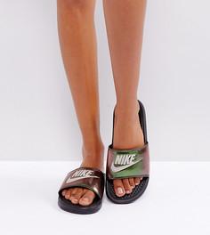 Черные шлепанцы с переливающимся эффектом Nike Benassi - Черный