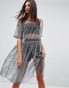 Сетчатое платье миди Uncivilised - Серебряный