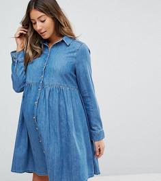 Синее джинсовое платье-рубашка свободного кроя ASOS MATERNITY - Синий