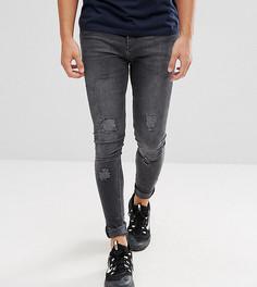 Черные выбеленные обтягивающие джинсы с рваной отделкой Brooklyn Supply Co - Черный