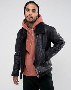 Черная свободная куртка из искусственной овечьей шерсти Sixth June - Черный