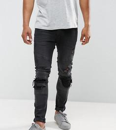 Байкерские джинсы слим с рваной отделкой Just Junkies - Черный