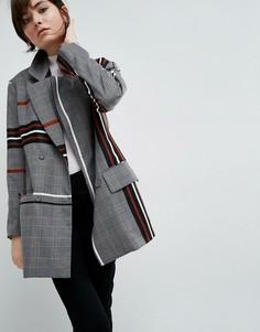 Куртка с клетчато-полосатым принтом и подплечниками ASOS WHITE - Мульти