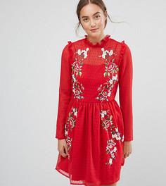 Приталенное платье мини с вышивкой ASOS TALL - Красный