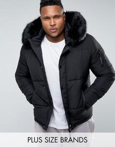Черная дутая куртка с меховой отделкой на капюшоне Sixth June PLUS - Черный