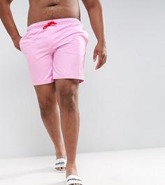 Фиолетовые шорты для плавания средней длины с красным шнурком ASOS PLUS - Фиолетовый
