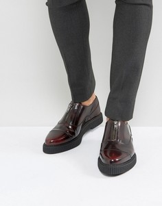 Бордовые кожаные туфли с молнией спереди и толстой подошвой ASOS - Красный