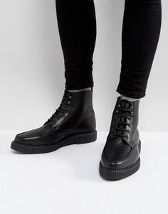 Черные кожаные ботинки-криперы на шнуровке ASOS - Черный