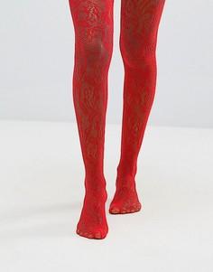 Кружевные колготки с цветочным узором ASOS - Красный