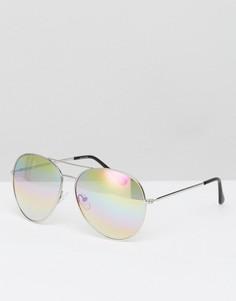 Очки-авиаторы в серебристой оправе с прозрачными стеклами ASOS - Серебряный
