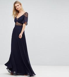 Платье макси с кружевными вставками и рукавами клеш ASOS Tall - Синий