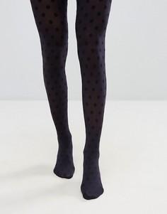 Колготки в горошек цвета индиго и черного цвета Jonathan Aston - Синий