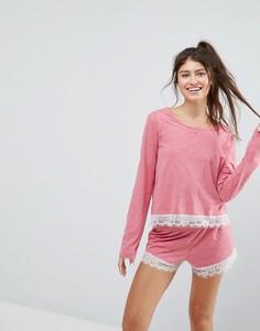 Пижамные лонгслив и шорты с кружевом и мелкой бахромой ASOS - Красный