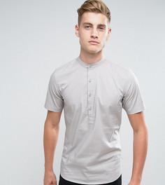 Рубашка скинни с воротом на пуговице Only & Sons - Серый