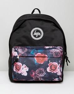 Черный рюкзак с цветочным принтом на вставке Hype - Черный
