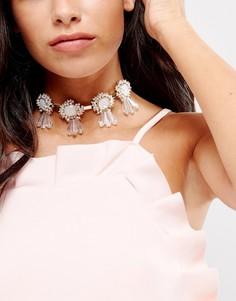 Тканевое ожерелье-чокер с завязкой и камнями Nylon - Золотой