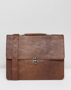 Коричневый портфель из искусственной кожи с застежкой-зажимом ASOS - Коричневый