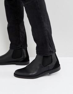 Черные кожаные ботинки челси Selected Homme Royce - Черный