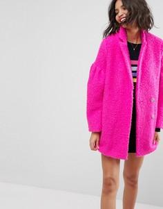 Фактурное пальто ASOS - Розовый