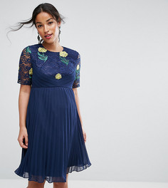 Платье мини с вышивкой, плиссировкой и кружевом ASOS Maternity - Темно-синий