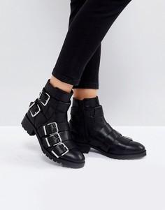 Кожаные ботинки с пряжками ASOS AGILE - Черный