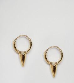 Позолоченные серебряные серьги-кольца с шипом ASOS - Золотой