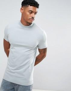 Обтягивающая футболка с высоким воротником ASOS - Синий