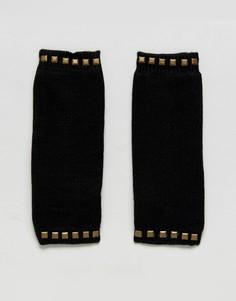 Митенки на флисовой подкладке с отделкой шипами Plush - Черный
