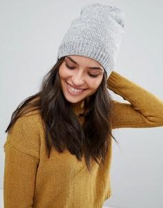 Серая меланжевая шапка-бини с флисовой подкладкой Plush - Серый