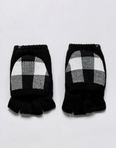 Черно-белые варежки на флисовой подкладке с накладками для сенсорных гаджетов Plush - Черный