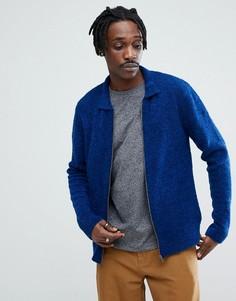 Синяя фактурная куртка Харрингтон из ткани букле ASOS - Синий