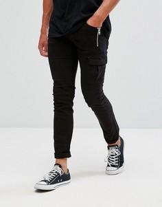Саржевые брюки карго Religion - Черный