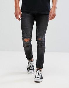 Состаренные зауженные джинсы стретч Religion - Черный