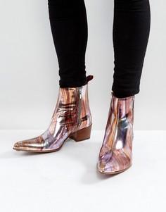 Розовые ботинки с молниями и эффектом металлик Jeffery West Sylvian - Розовый