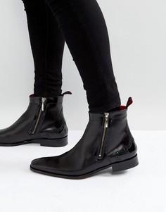 Черные кожаные ботинки-броги на молнии Jeffery West Scarface - Черный