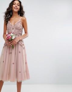 Платье миди на лямках с отделкой бисером ASOS WEDDING - Розовый
